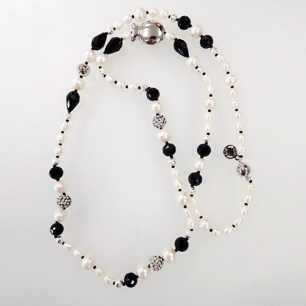 淡水パール ブラック&ホワイト ネックレス