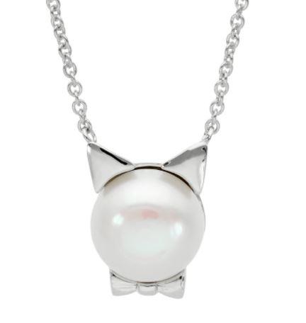 猫に真珠 淡水パール キャットフェイスペンダント