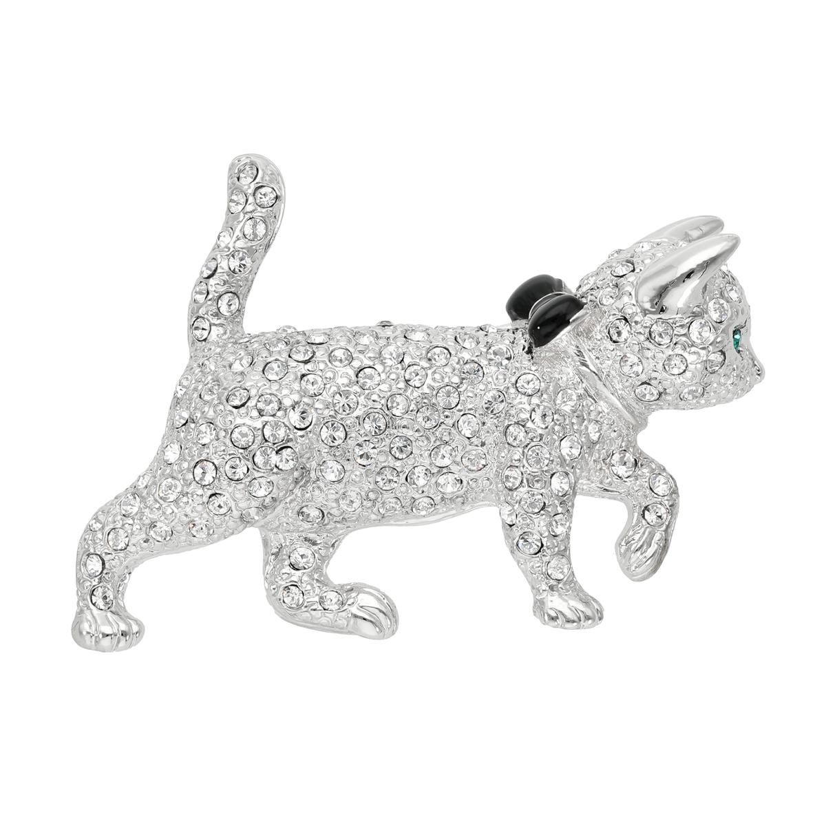 NC695590 クリスタルガラス 猫(にゃん)散歩ブローチ