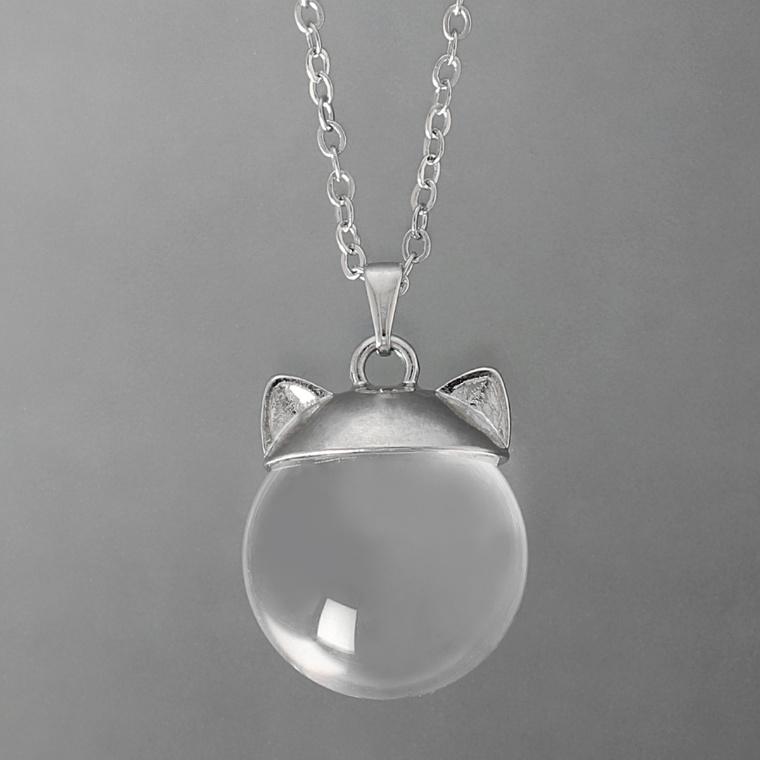 NC695594 ヒーリングキャット クリスタル 猫フェイスペンダント